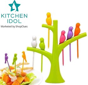 Kitchen Idol Birdie Fruit Fork 6pcs - Assorted Colors