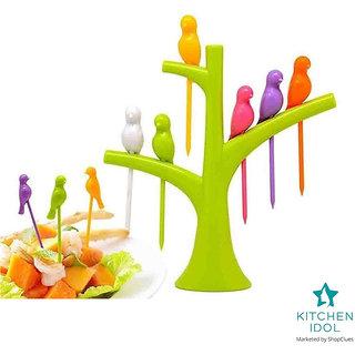 Kitchen Idol Plastic Birdie Fruit Forks 6 pcs - Assorted Colors