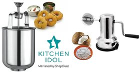 Kitchen Idol Silver Stainless Steel Menduwada Maker + Coconut Scrapper