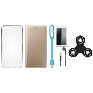 Vivo V5 Plus Premium Leather Cover with Spinner, Silicon Back Cover, Tempered Glass, Earphones and USB LED Light by Vivacious