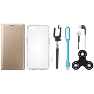 Vivo V5 Plus Premium Leather Case with Spinner, Silicon Back Cover, Selfie Stick, Earphones and USB LED Light