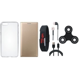 Vivo V5 Plus Cover with Spinner, Silicon Back Cover, Digital Watch, Earphones and USB Cable by Vivacious
