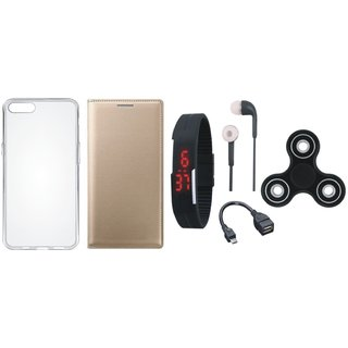 Vivo Y83 Stylish Leather Cover with Spinner, Silicon Back Cover, Digital Watch, Earphones and OTG Cable by Vivacious