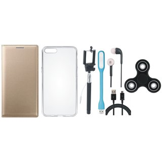 Redmi Note 3 Sleek Leather Cover with Spinner, Silicon Back Cover, Selfie Stick, Earphones, USB LED Light and USB Cable