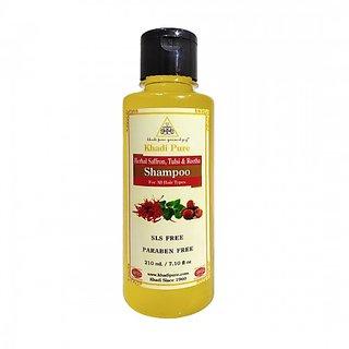 Khadi Pure Herbal Saffron, Tulsi  Reetha Shampoo SLS-Paraben Free - 210ml