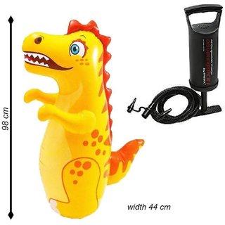 Intex Hit Me Inflatable 3D Punching Bop Bag- Dinosaur For Age 3+ and Intex High Output Air Balloon Pump Combo