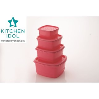 Kitchen Idol Square 4pcs Container Set - Pink