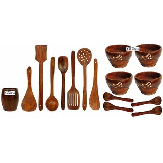Shilpi Wooden Cooking Spoon Set Ideal For Non Stick (7)+Spoon Holder Stand (1) + Serving Bowl  Spoon Set (8) / Kitchen