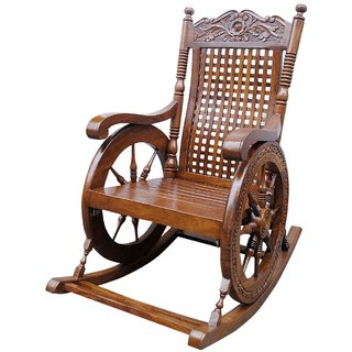 Desi Karigar Grandpa Rocking Chair Hand Carved (Brown 43 X 24 X 37)