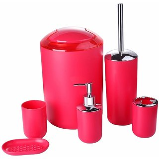 House of Quirk 6 Piece Plastic Bathroom Set Red
