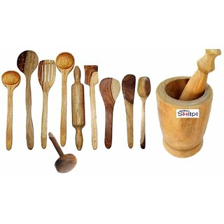 Shilpi Wooden Cooking  serving Spoon Set of 10 Pcs / Wooden Kitchen Tools, Spatula and Ladle Set Includes 1 Skimmer(Jha