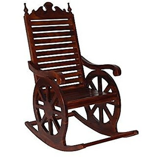 Desi Karigar Wooden Easy Chair / Wood Aaram Chair / Hand Carved Rocking Chair/ Relax Chair