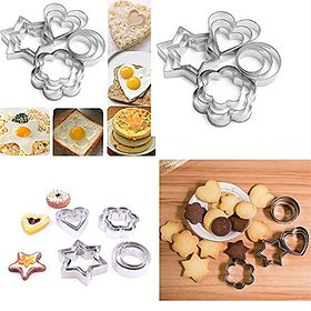 ZEVORA ookie Cutter 12Pcs/set Pastry Fruit Molds Stainless Steel Heart Flower Round Star Biscuit Mould Fondant Cutting