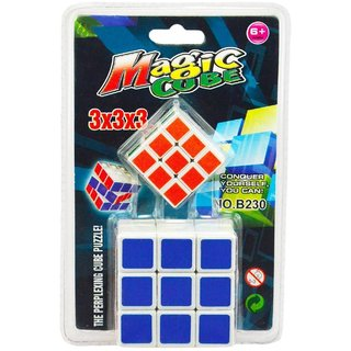 2 in 1 Magic Cube 3x3x3 Sticker-less Rubik's Cube Puzzle (1 Big+1 Small)