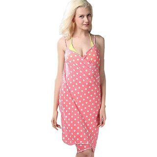 Sexy Backless Style Splendid Peach Polka Dot Print Summer Wrap Skirt Beach Dress