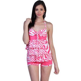 Ruffle-Luscious Pink Tankini Halter Top With Boy Short