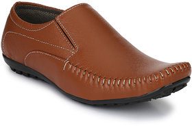 Footlodge Men's Tan Synthetic Leather Slip On Casual Lo