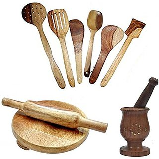 Shilpi Wooden Cooking Spoon Set +Chakla  Belan + Wooden Masher (Pack Of 10)