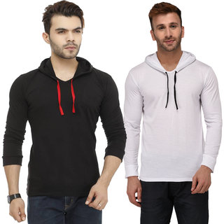 Adorbs Solid Men's Hooded Black, White T-Shirt(Pack of 2)