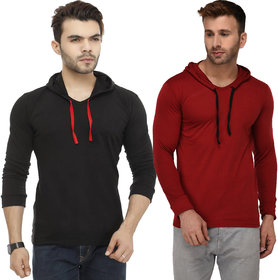 Adorbs Solid Men's Hooded Black, Maroon T-Shirt(Pack of 2)