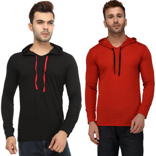 Adorbs Solid Men's Hooded Black, Red T-Shirt(Pack of 2)