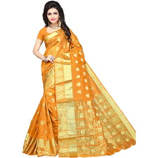 Pemal Designer Women's Cotton  Silk Weaving  Saree With Jecqured Border Running Blouse Pics BBC93