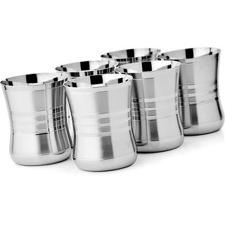 Steel Glass Set -Stainless Steel Tableware Drinkware Tumbler Drinking Glasses Set of 6 Mirror Finish