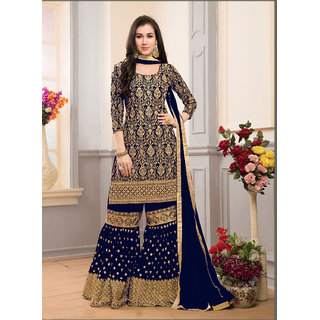 Salwar Soul Blue Georgette Sharara Style Palazzo Suit