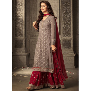 Salwar Soul Grey Georgette Pakistani Semi-Stitched Salwar Suit