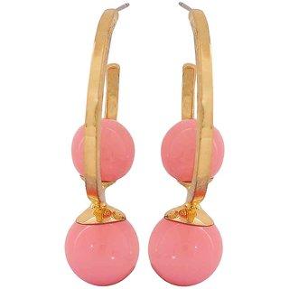 Maayra Twin Drops Earrings Pink Hoops Dailywear Jewellery
