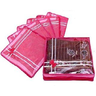 DIMONSIV Plain pack of six saree salwar cloths cover keep 2 saree storage organizers cases  (Pink)