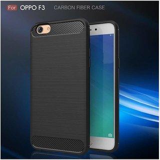 Hybrid Rugged Soft Case Carbon Fibre Back Cover For F3 (Mettalic Black)