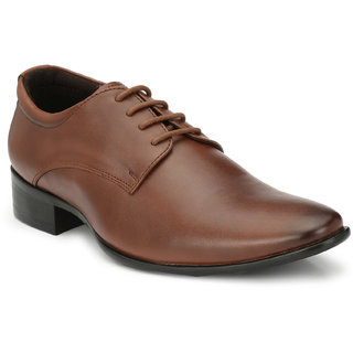 Delize Mens Tan Lace-up Derby Wedding Shoes