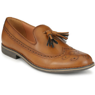 Delize Mens Tan Slip on Oxfords Party Shoes