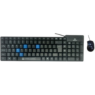 Beekonnect ECO Wired USB Laptop Keyboard Mouse Black