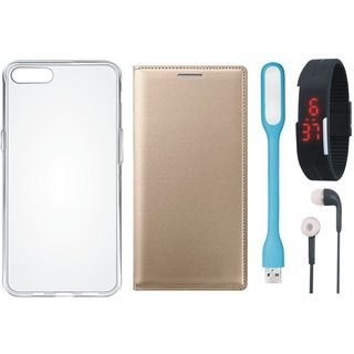 Redmi Y1 Leather Flip Cover with Silicon Back Cover, Digital Watch, Earphones and USB LED Light by Vivacious