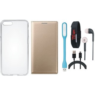 Redmi Y1 Leather Flip Cover with Silicon Back Cover, Digital Watch, Earphones, USB LED Light and USB Cable by Vivacious
