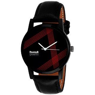 Unique Shopping Casual Black Analog Leather Quartz Round Watch For Men