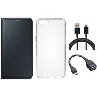 Redmi Y1 Stylish Leather Flip Cover with Silicon Back Cover, OTG Cable and USB Cable by Vivacious