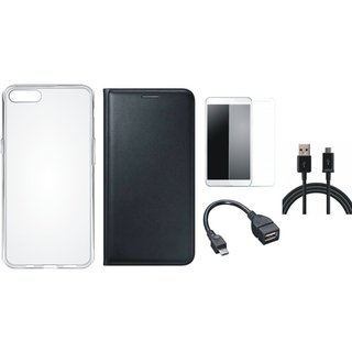 Redmi Y1 Lite Leather Flip Cover with Silicon Back Cover, Tempered Glass, OTG Cable and USB Cable