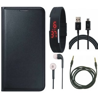 Redmi Y1 Lite Leather Flip Cover with Digital Watch, Earphones, USB Cable and AUX Cable