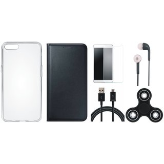 Redmi Y1 Lite Sleek Leather Cover with Spinner, Silicon Back Cover, Earphones, Tempered Glass and USB Cable by Vivacious