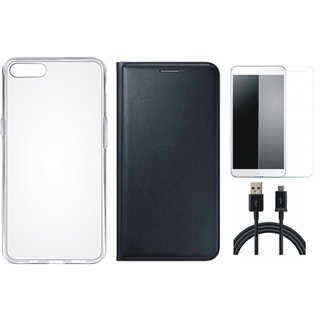 Redmi Y1 Lite Premium Quality Leather Cover with Silicon Back Cover, Tempered Glass and USB Cable