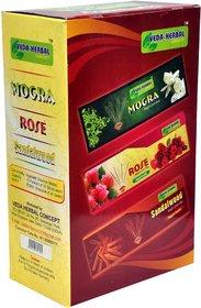 Veda Herbal Concept - Incense Sticks 12packet of 15sticks (Mogra, Rose,Sandalwood) Perfume