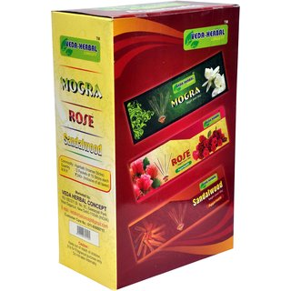 Veda Herbal Concept - Incense Sticks 12packet of 15sticks (Mogra, Rose,Sandalwood) Perfume