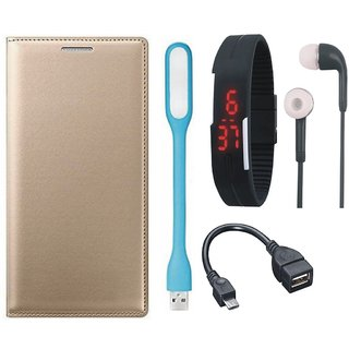 Redmi Y1 Lite Stylish Leather Flip Cover with Digital Watch, Earphones, USB LED Light and OTG Cable