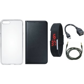 Redmi Y1 Lite Flip Cover with Silicon Back Cover, Digital Watch, OTG Cable and AUX Cable