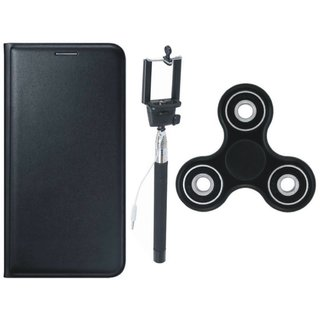 Oppo F3 Stylish Leather Cover with Spinner, Free Silicon Back Cover and Selfie Stick
