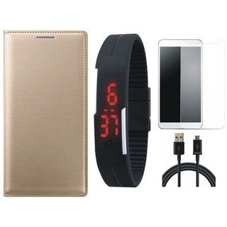 Oppo F3 Stylish Leather Flip Cover with Free Digital LED Watch, Tempered Glass and USB Cable