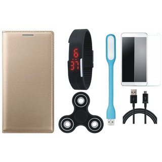 Oppo F3 Premium Leather Cover with Free Spinner, Digital LED Watch, Tempered Glass, LED Light and USB Cable by Vivacious